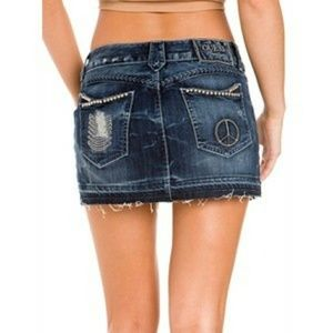 GUESS Denim Peace Mini Jean Skirt